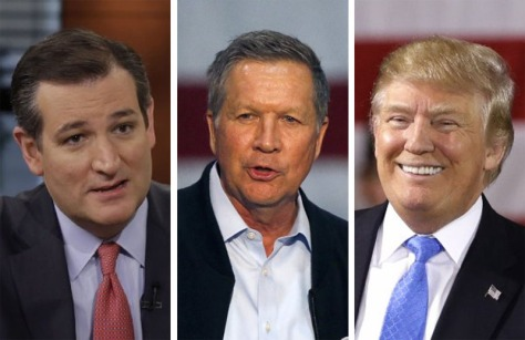 (l-r) Texas U.S. Senator Ted Cruz, Ohio Governor John Kasich, Businessman Donald Trump {photo: dispatch.com}