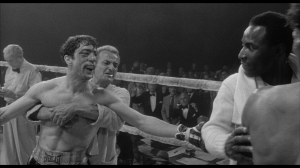 """Raging Bull"" still from end of film with actor Robert DeNiro - ""you didn't knock me down, Ray"""