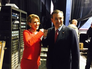 Carly Fiorina with Texas U.S. Senator Ted Cruz as she becomes Cruz's running mate as VP if he gets the nomination
