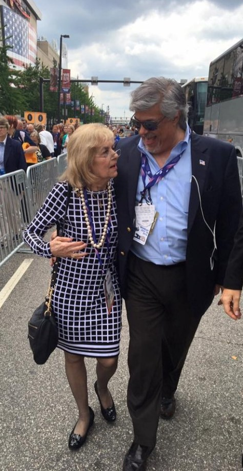 Veteran Connecticut Republican National Committeewoman Pat Longo in Ohio at 2016 convention with friend Ben Proto.