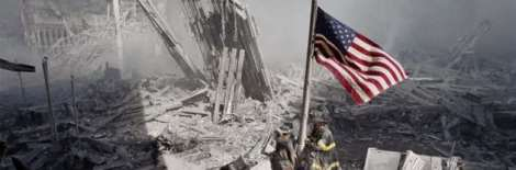 remember911wtcruinswithfiremenandflag