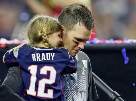 NE Patriots QB Tom Brady with daughter post Super Bowl win 2017