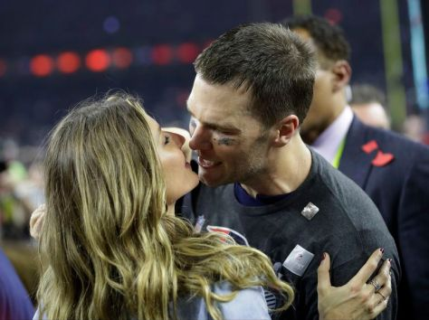 New England Patriot QB Tom Brady and wife Gisele post Super Bowl win 2017