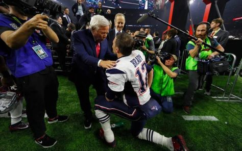 (l) New England Patriots coach Robert Kraft and Patriots QB Tom Brady with press post Super Bowl win 2017