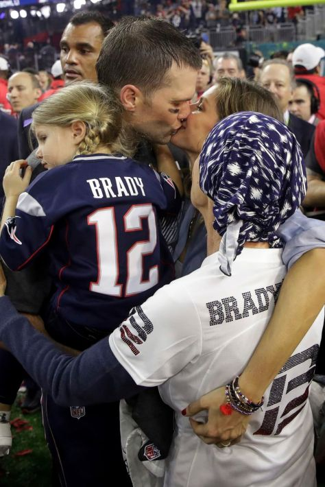 NE Patriots QB post 2017 Super Bowl win with mother, wife and daughter