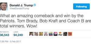 President Trump tweet over Patriot Super Bowl win